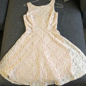White with nude undertone lace dress